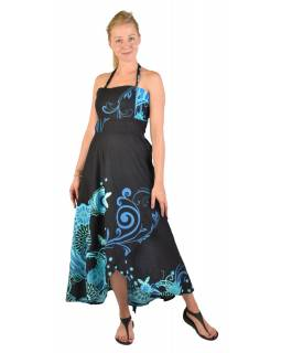 """Atypické zavinovacie šaty """"Flower design"""" na ramienka, čierne"""