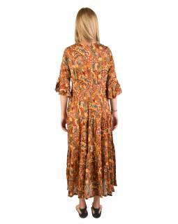 Dlhé šaty s 3/4 rukávom s drobným potlačou, hnedé