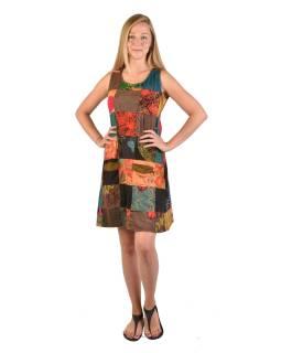 Krátke šaty bez rukávov, vrecká, multifarebný patchwork, stonewash, zips na boku