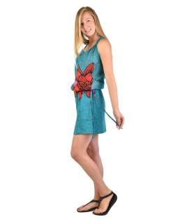 Krátke tyrkysové šaty na ramienka s potlačou kvety, sťahovacia šnúrka