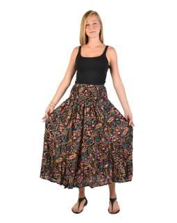 Dlhá čierna sukňa s drobným potlačou, žabičkování