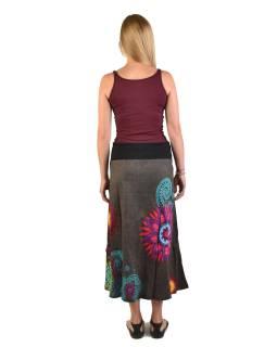 Dlhá šedá sukňa s Mandala potlačou, elastický pás, šnúrka