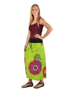 Dlhá limetkovo zelená sukňa s Mandala potlačou, elastický pás, šnúrka