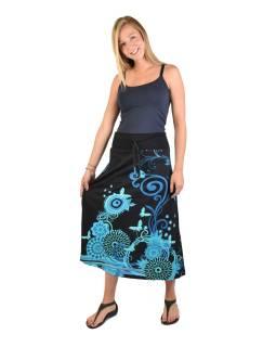 Dlhá čierna sukňa s Flower potlačou, elastický pás, šnúrka