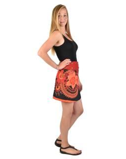 Krátka čierno-červená obojstranná sukne zapínaná na cvočky, potlač
