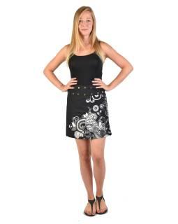 Krátka čierno-šedivá obojstranná sukne zapínaná na cvočky, potlač
