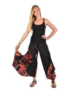 """Čierne zvonové nohavice s vysokým pásom, """"Flower design"""""""