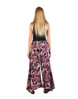 """Čierne zvonové nohavice s vysokým pásom, """"Flower design"""", žabičkování"""