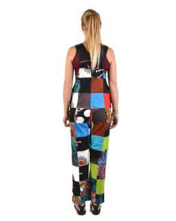 Nohavice s trakmi, vrecká, multifarebný patchwork