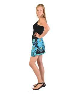 Krátka čierno-tyrkysová obojstranná sukne zapínaná na cvočky, potlač