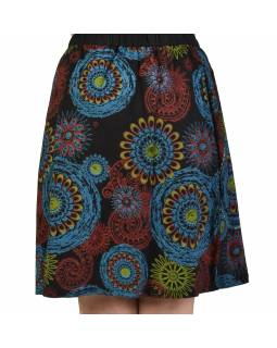 Krátka čierna sukňa s potlačou mandál, elastický pás