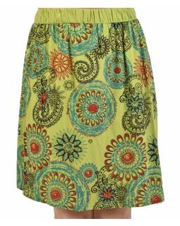 Krátka zelená sukňa s potlačou mandál, elastický pás