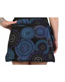 Krátka čená sukňa zapínaná na svočky, Mandala dizajn, potlač, kapsička