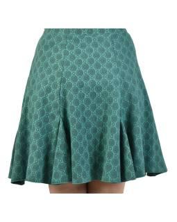 Krátka sukňa, mentolová, čierne kolieska, elastický pás