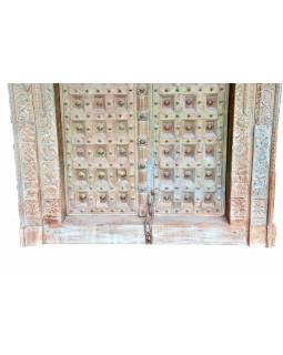 Antik dvere s rámom z Gujarati, teakové drevo, maľované, 140x20x236cm