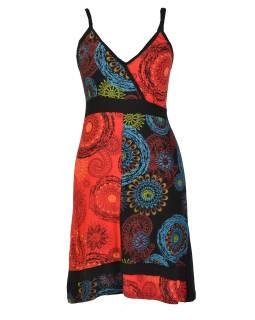 Čierno-červené krátke šaty na ramienka, farebný mandala potlač