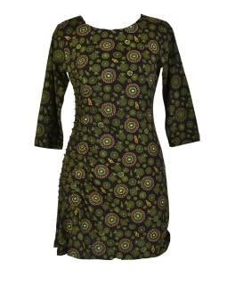 Čierne šaty s trojštvrťovým rukávom a celopotlačou mandál, sklady na boku, výšku
