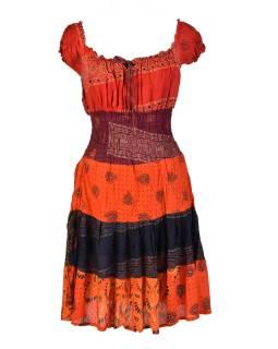 Krátke červené šaty s potlačou, balónový rukáv, patchwork dizajn