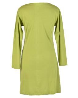 Zelené šaty s dlhým rukávom, mandala potlač