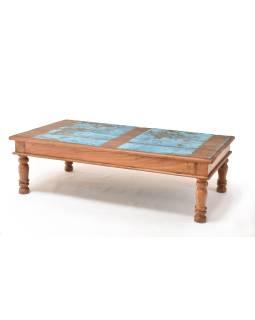 Stolík z teakového dreva, tyrkysová patina, 165x91x49cm