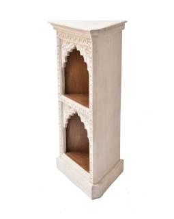 Rohová knižnica z mangového dreva, ručné rezby, 50x40x93cm