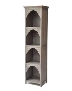 Knižnica z mangového dreva, ručné rezby, 50x40x180cm