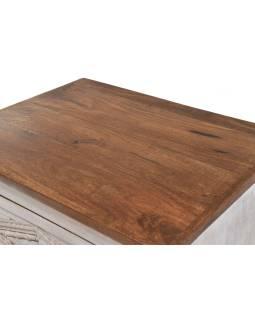 Šuplíková komoda z mangového dreva, biela patina, 50x40x122cm