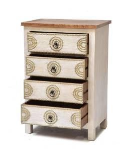 Šuplíková komoda z mangového dreva, biela patina, 50x42x95cm