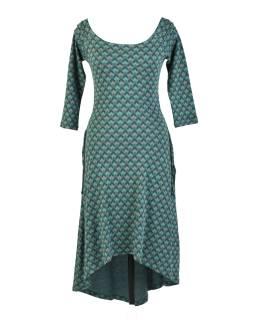 Zelené dlhé šaty s trojštvrťovým rukávom, geometrický potlač, bio bavlna