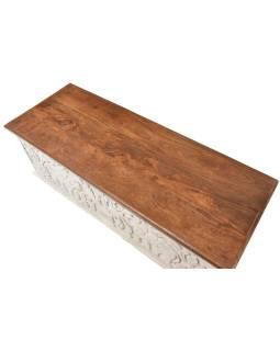 Truhla z mangového dreva, zdobená ručnými rezbami, 118x43x45cm