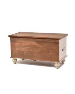 Truhla z mangového dreva zdobená ručnými rezbami, 90x43x45cm