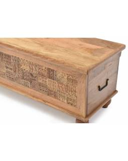 Truhla z mangového dreva zdobená ručnými rezbami, 118x43x45cm