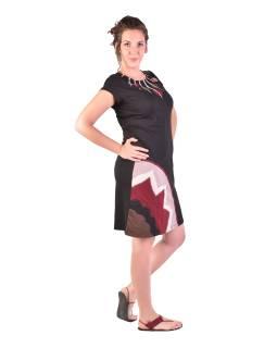 Krátke šaty s krátkym rukávom, čierno-vínovo-béžovej, kolieska
