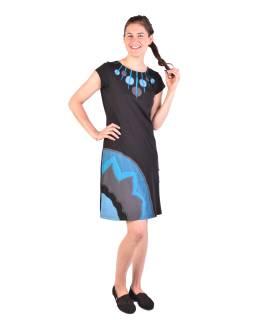 Krátke šaty s krátkym rukávom, čierno-modro-šedivé, kolieska