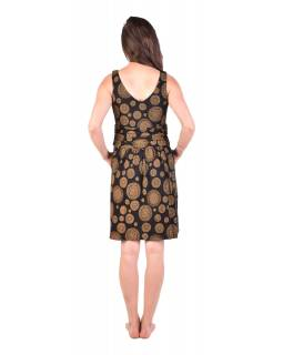 Krátke šaty bez rukávov, čiernej, žltý potlač mandál