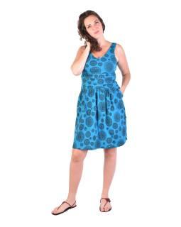 Krátke šaty bez rukávov, tyrkysové, čierny potlač mandál
