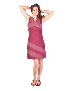 Krátke šaty bez rukávov, vínovej s bielymi bodkami, bio bavlna s lycrou