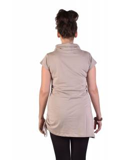 Dlhé béžové tričko s krátkym rukávom, potlač Mandala, golier
