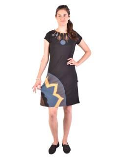 Krátke šaty s krátkym rukávom, čierno-žlto-šedivé, kolieska