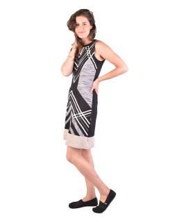 Krátke šaty bez rukávov, čierno-bielo-šedivé, dizajn prúžky, Bio bavlna s lycrou