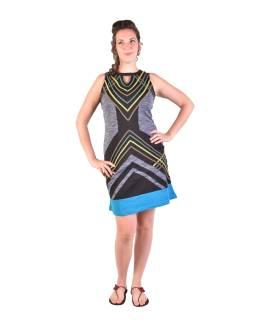 Krátke šaty bez rukávov, čierno-zelené, dizajn prúžky, Bio bavlna s lycrou