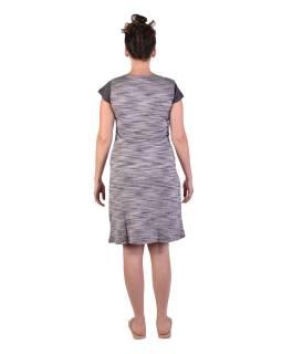 Krátke šaty s krátkym rukávom, šedivé-čierne, šedivý melír, potlač