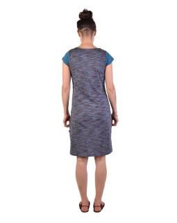 Krátke šaty s krátkym rukávom, tyrkysovo-modré, fialovo-modrý melír, potlač