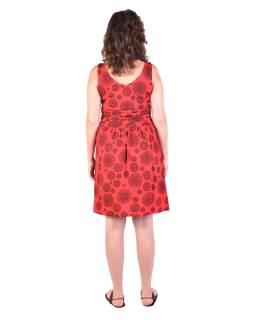 Krátke šaty bez rukávov, červenej, čierny potlač mandál