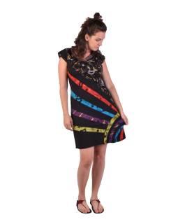 Krátke šaty s krátkym rukávom, čierne s potlačou a farebnými pruhmi