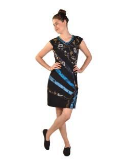Krátke šaty s krátkym rukávom, čierne s potlačou a farebným dizajnom