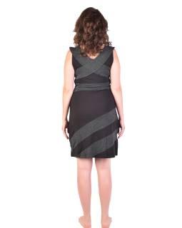 Krátke šaty bez rukávov, čierne s bielymi bodkami, bio bavlna s lycrou