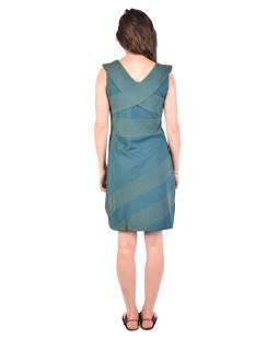 Krátke šaty bez rukávov, smaragdovo zelené s bielymi bodkami, bio bavlna s lycrou