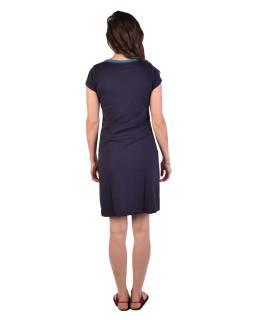 Krátke tmavo modré šaty, krátky rukáv, potlač