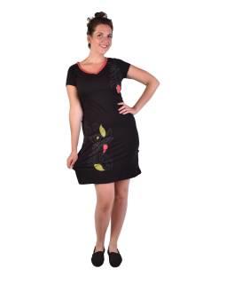Krátke čierne šaty, krátky rukáv, potlač